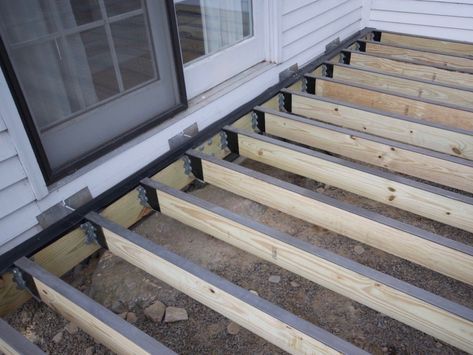 Deck structure with Imus Seal joist flashing tape on ledger and Imus Cap on joists
