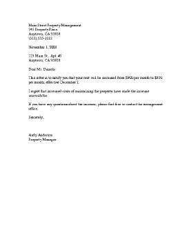 Rent Increase Template Letter Templates Lettering Cover Letter Design