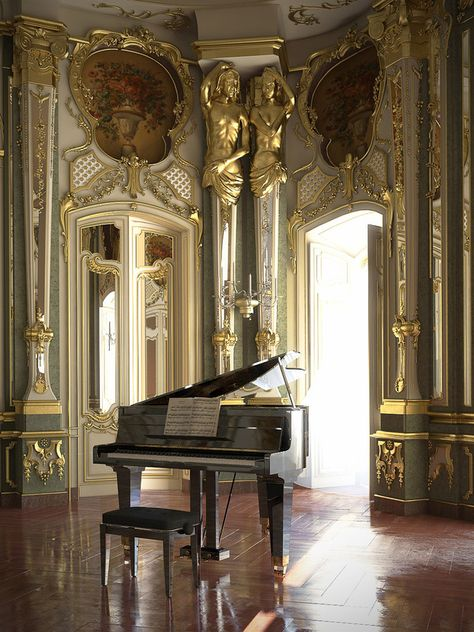 [image] Title: The Piano Name: Barbara Witkowska Country: Poland Software: max Photoshop VRay ZBrush Submitted: April 2011 I'd like to present a visualization of Queluz National Palace ballroom, Portugal. Baroque Architecture, Beautiful Architecture, Architecture Details, Beautiful Homes, Beautiful Places, Palace Interior, Ballrooms, Aesthetic Pictures, Castle