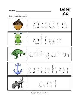 Letter Aa Trace the Words Worksheets Preschool/Kindergarten ...
