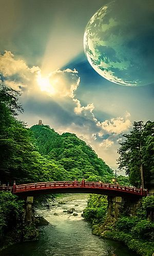 Moon over river bridge