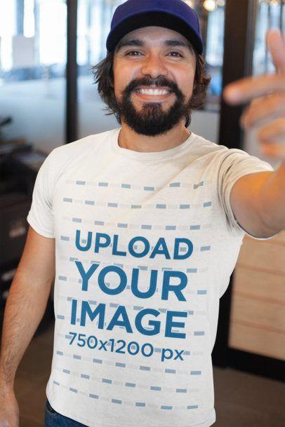 Download Placeit T Shirt Mockup Featuring A Happy Customer Smiling At The Camera Shirt Mockup Tshirt Mockup Clothing Mockup