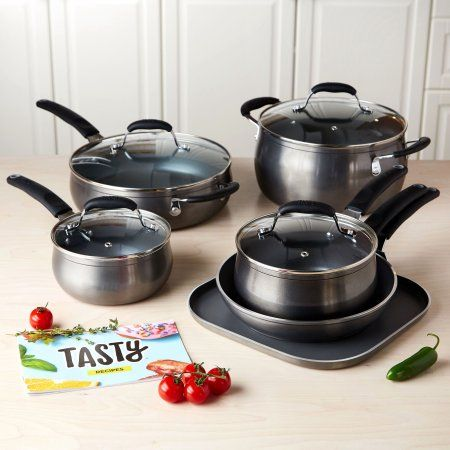 RedTasty 11pc Titanium Reinforced Ceramic Tasty 11pc Cookware Set Non-Stick