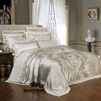 Sliver Gold Luxury Silk Satin Jacquard Duvet Cover Bedding Set Queen King Size Luxury Bedding Bed Linens Luxury Luxury Bedding Sets