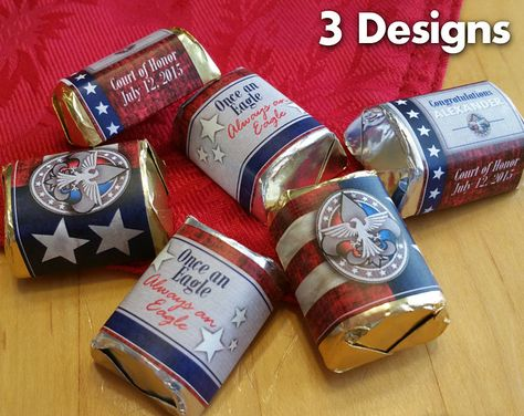 DIGITAL FILE ONLY – CUSTOMIZED AND EMAILED TO YOU. THIS IS NOT AN INSTANT DIGITAL DOWNLOAD THAT YOU EDIT YOURSELF.  These customized napkin ring wraps will make a great addition to your Court of Honor table! They will come to you as a high resolution file that you can print on your home computer or your favorite print shop such as Staples or Office Depot. Customization includes your Eagle Scouts name and date of his Court of Honor. The file I send will contain 8 napkin ring wraps per 8 1/...