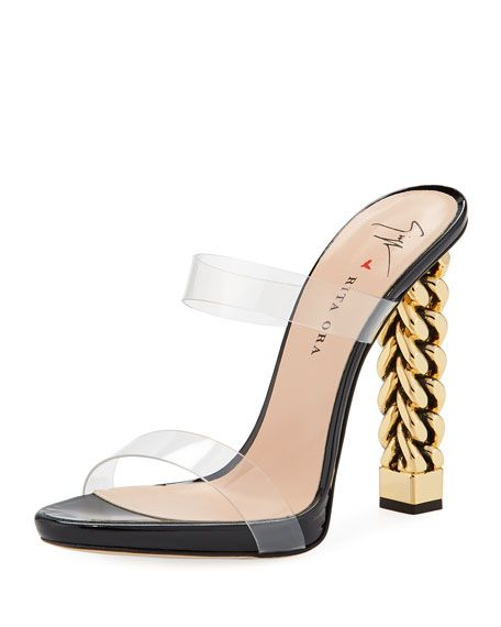 c673a526582 Invisible Strap Chain-Heel Sandals in 2019 | Accessories | Sandals ...