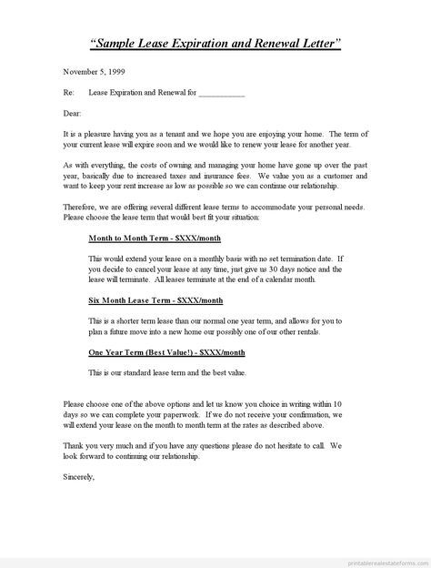 Printable Sample Lease Expiration And Renewal Letter Standard 2 Template 2015 Being A Landlord Lease Lettering
