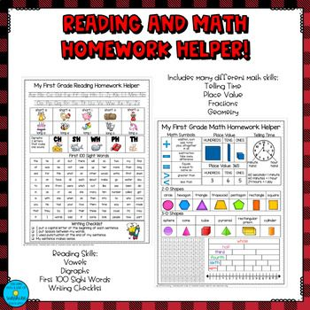 Homework Reference Sheets Geared Toward First Grade Reading And Math Skills Print Double Sided And Place In A Pa Math Homework First Grade Reading First Grade