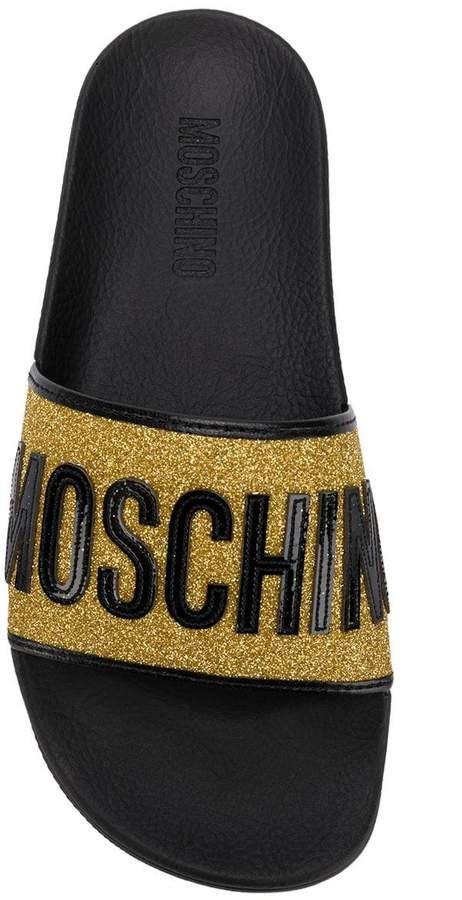 Moschino glitter-strap slides