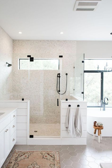 Half wall between toilet and shower? Glass on top and glass door. Modern Farmhouse Bathroom Decorating Ideas with White Shiplap and Glass Surround Shower, a Window for Natural Light, Cream Colored Pebble Tile, and All Black Hardware White Bathroom Cabinets, Bathroom Renos, Bathroom Renovations, Bathroom Interior, Small Bathroom, Bathroom Ideas, Bathroom Designs, Bathroom Black, Bathroom Layout