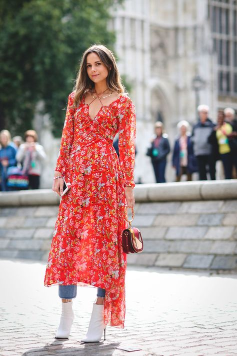 London Fashion Week Street Style maxi dress over jeans