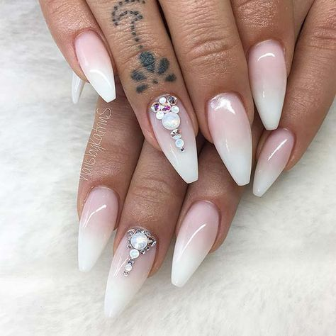 41 Of The Most Beautiful French Ombre Nails Page 2 Of 4 Stayglam Rhinestone Nails Nails Design With Rhinestones Ombre French Nails
