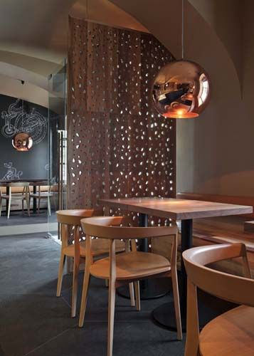 Wood Light Color Cafe Furniture Interior. Great Copper Shade Pendant Lights  Designed By Tom Dixon Available At Property Furniture Http://propertyfuu2026