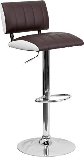 Flash Furniture Two Tone Brown And White Vinyl Adjustable Stool