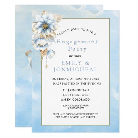 Dusty Blue Watercolor Florals Engagement Party Invitation Zazzle Com Engagement Party Invitations Watercolor Floral Invitation Couples Shower Invitations
