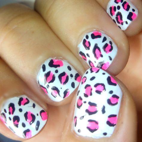Uñas Leopardo Rosa Con Fondo Blanco Diseños De Uñas