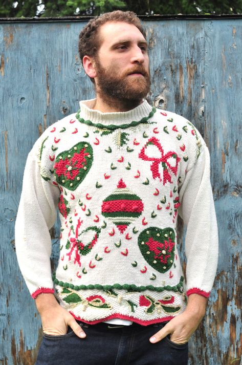 Vintage Ugly Christmas Sweater Knit Sparkle Ornament Explosion