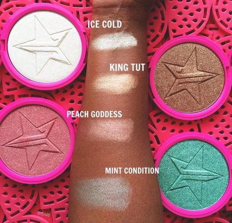 Jeffree Star Skin Frost Highlighters ❄️ in love with Peach Goddess and King Tut  #makeup #jeffreestar #highlighters