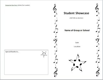 This Easy To Edit Fold Over Concert Program Template Will Save Time And Be Something You And Your Students Wil Program Template Teaching Music Teacher Moments