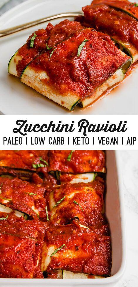 "This zucchini ravioli is a grain and dairy-free alternative to this pasta classic! It's made with zucchini pasta a cauliflower ""cheese"" filling and is paleo keto AIP and vegan-friendly. Zucchini Ravioli, Zucchini Pasta Recipes, Paleo Ravioli, Recipe Zucchini, Dairy Free Zucchini Recipes, Zuchinni Pasta, Ravioli Lasagna, Tofu Ricotta, Zucchini Pizzas"