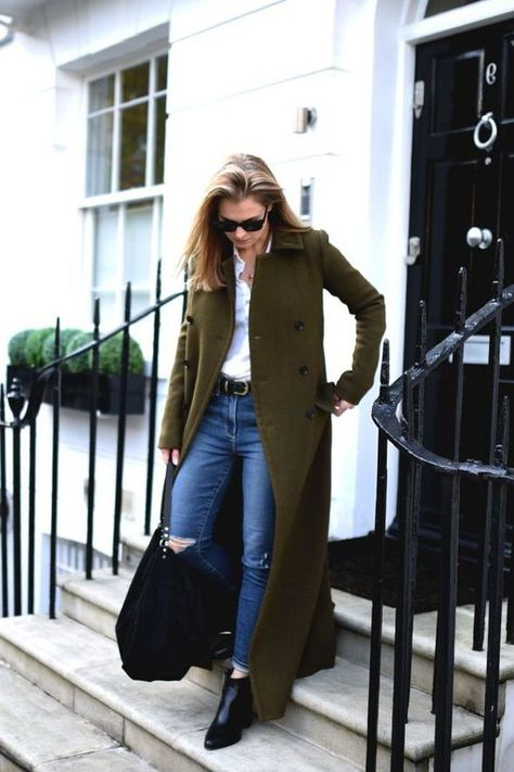 putting together an outfit, jeans with white shirt and green coat, business-casual look Source by