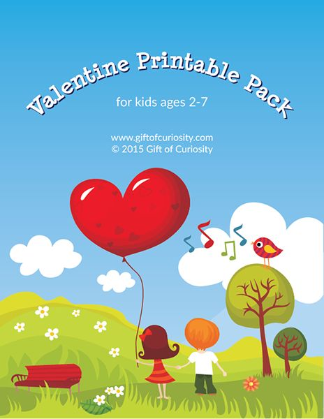 Free Valentine Printable Pack: 100+ pages of Valentine worksheets for kids ages 2-7 covering a wide range of skills.