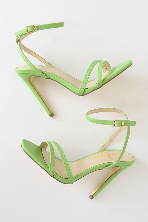 All your admirers with be envious of the Lulus Lianya Green Ankle Strap Heels! Vegan leather heels with a strappy open toe and gold buckling ankle wrap straps. Green Heels, Pink Heels, Stiletto Heels, Shoes Heels, Buckle Outfits, Heels Outfits, Ankle Strap Heels, Ankle Straps, Cute Shoes