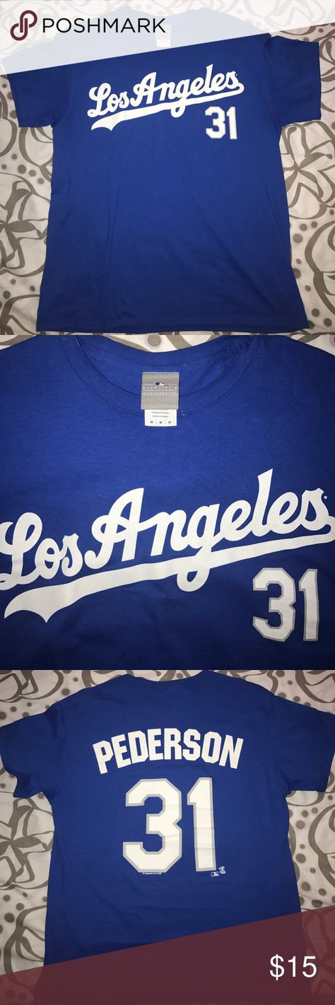 Los Angeles Dodgers Pederson shirt GO DODGERS! Blue Los Angeles Dodgers Tee Pederson 31 Nike MLB Shirts Tees - Short Sleeve