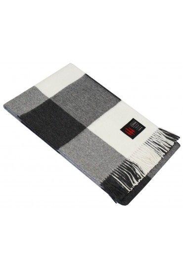 Blanket 100 Alpaca White Grey Checkered Lorenzo Cana Alpaka