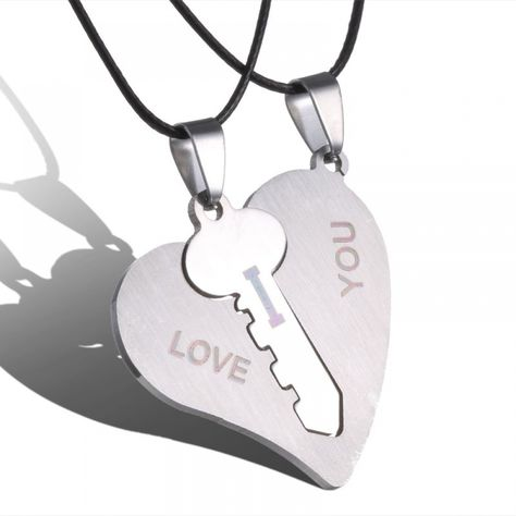 2018 Korean Couple Necklaces Set Pendant Necklace Engrave I Love You Matching Hearts Key 316L Stainless Steel Couple Puzzles  Price: 11.22 & FREE Shipping  #UnitedKingdom