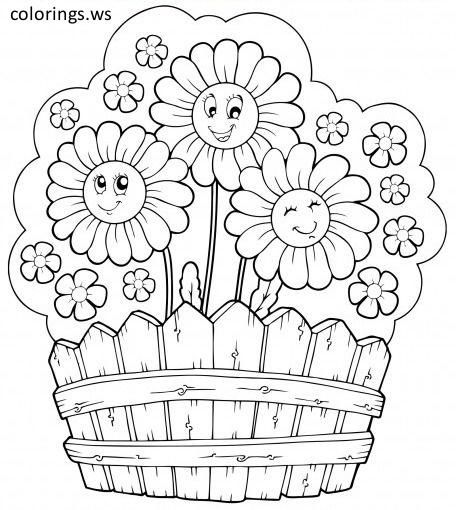 Happy Flower Garden Coloring Page Flower Garden Coloring Pages Free Printable Happy Flower Garden Summer Coloring Pages Coloring Books Flower Coloring Pages
