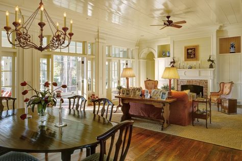 Beautiful neutral  open living / dining area via Historical Concepts.