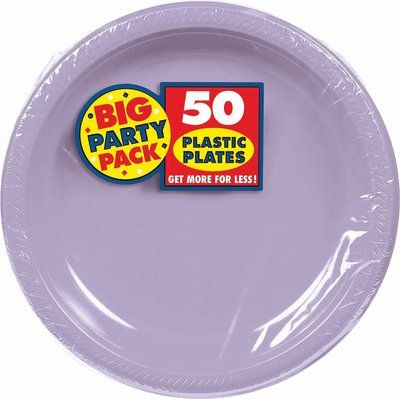 Amscan Big Party Pack Round Plastic Dinner Plate Colour Lavender