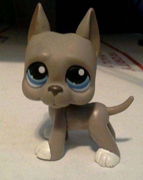 Littlest Pet Shop  LPS RARE GREY GREAT DANE DOG BLUE EYES #184  #Hasbro