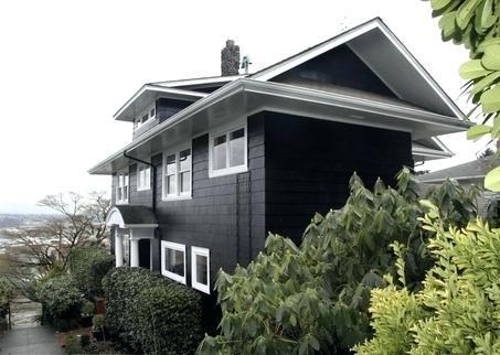Black House White Trim Dark Gray Houses Yellow House White Trim Black Shutters Black House Exterior House Exterior White Exterior Houses