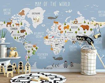 Map Wallpaper Peel And Stick Self Adhesive Dark Political World Map Wall Mural Removable Large Maps Wallpaper Living Room Young Room Cafe Carta Da Parati Per Bambini Carta Da Parati Cameretta
