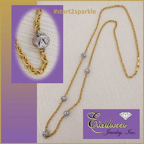 18k Two Tone 24 Necklace With Yellow Gold Rope Texture Cable Chain And 5 Open Work White Gold Beads Ea Diamond Fashion Diamond Earrings Studs Selling Jewelry