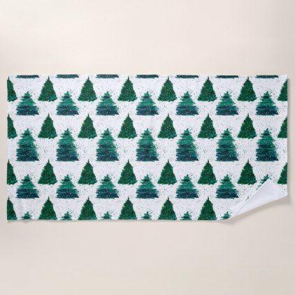 Christmas Tree Pattern Watercolor Green Pine Trees Beach Towel