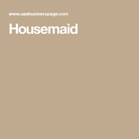 Housemaid jobs in Dubai Pinterest - housekeepers resume