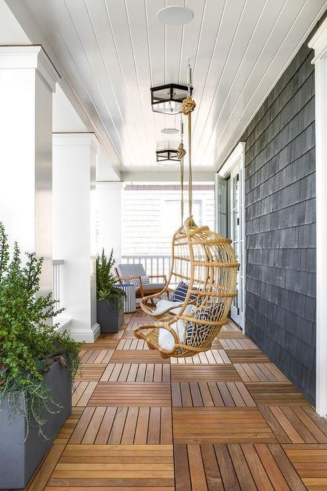 White Shiplap Porch Ceiling Over Teak