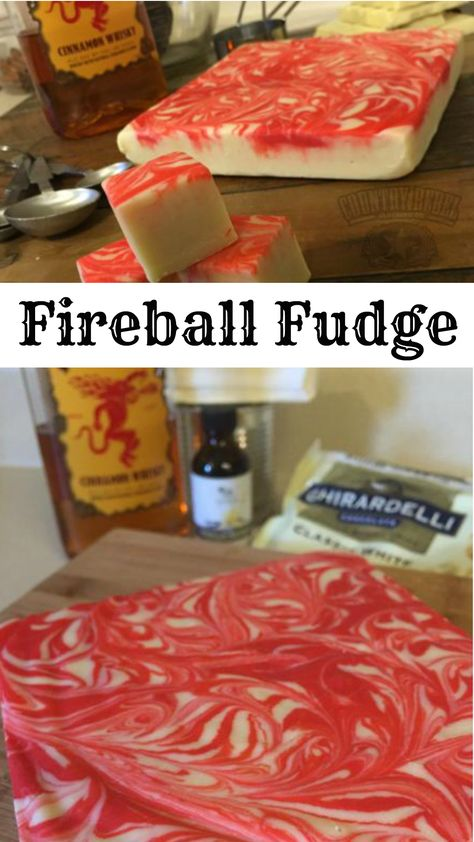 Best Ever Fireball Fudge - Aunt Bee's Recipes - Best Ever Fireball Fudge Country Rebel's viral five-ingredient fudge recipe is a year-round hit and features everyone's favorite cinnamon beverage. Fudge Recipes, Candy Recipes, Sweet Recipes, Holiday Recipes, Dessert Recipes, Christmas Appetizers, Dessert Bread, Christmas Recipes, Drink Recipes