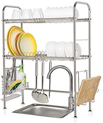 Amazon Com Nex 2 Tier Dish Rack Stainless Steel Dish Drainer Over The Sink Design Small Counter Saver Arredamento