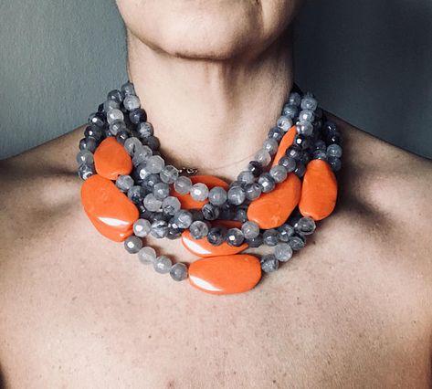 "Tortoiseshell Choker Necklace Long Chunky Resin Jewlery w// Faux Gold Links 19/"""