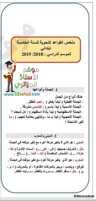 ملخص القواعد النحوية السنة الخامسة ابتدائي الجيل الثاني Grammar Rules Grammar Primary