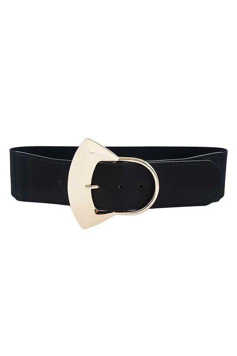 Stylish Thick Elastic Belt - Black