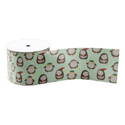 3 Merry Christmas Penguin 1.5 Grosgrain Holiday Ribbon