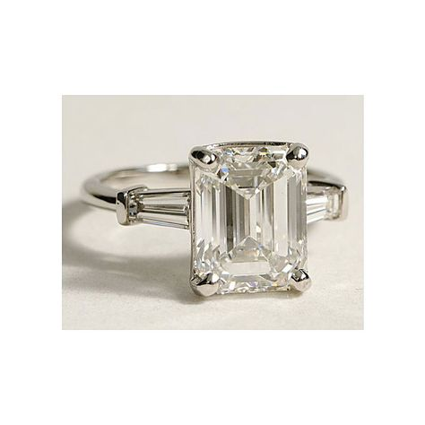 Blue Nile - Style 17878 Platinum Engagement Ring with Emerald-Cut Diamonds and Tapered Baguettes  