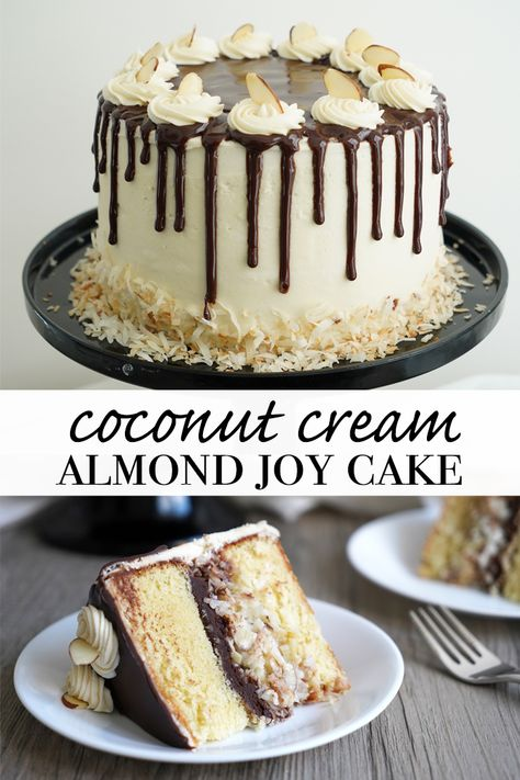 Almond Joy Cake- Coconut and almond lovers can celebrate with this cake made just for them. Plus, learn the secret to the richest softest cake ever made! Almond Joy Cupcakes, Almond Coconut Cake, Almond Cakes, Coconut Cakes, Toasted Coconut, Coconut Cream, Cupcake Recipes, Cupcake Cakes, Dessert Recipes