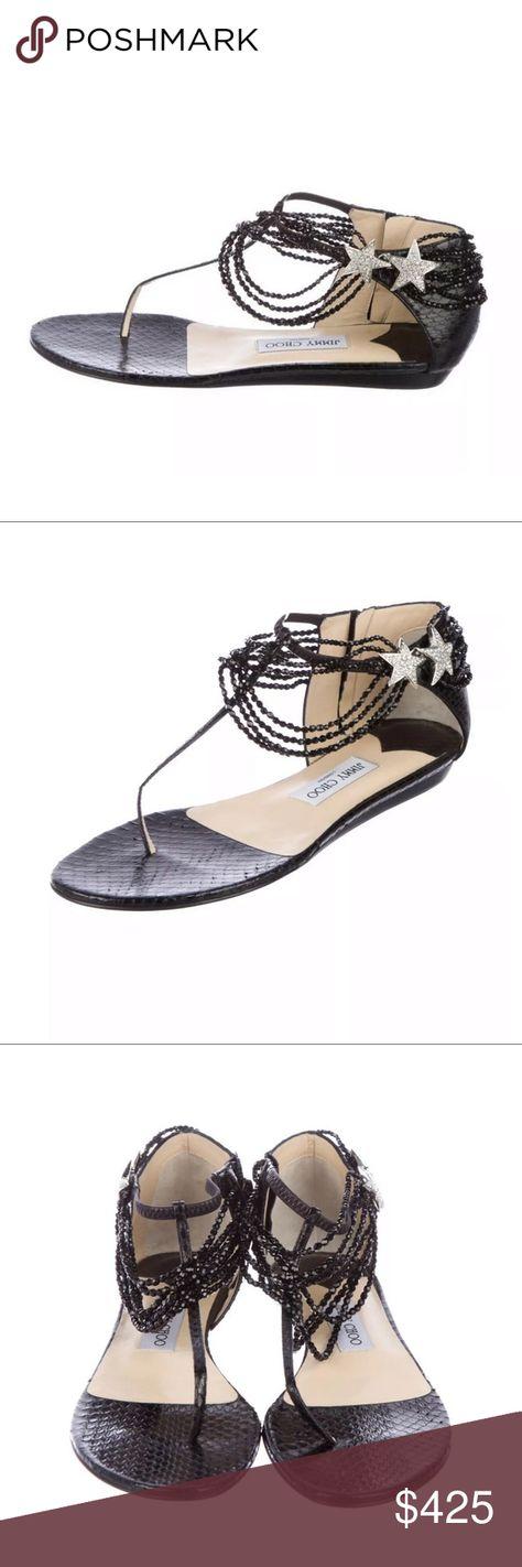 548772225fa New jimmy choo Black Star Sandals Flats size 40.5 Black snakeskin Jimmy Choo  sandals with crystal