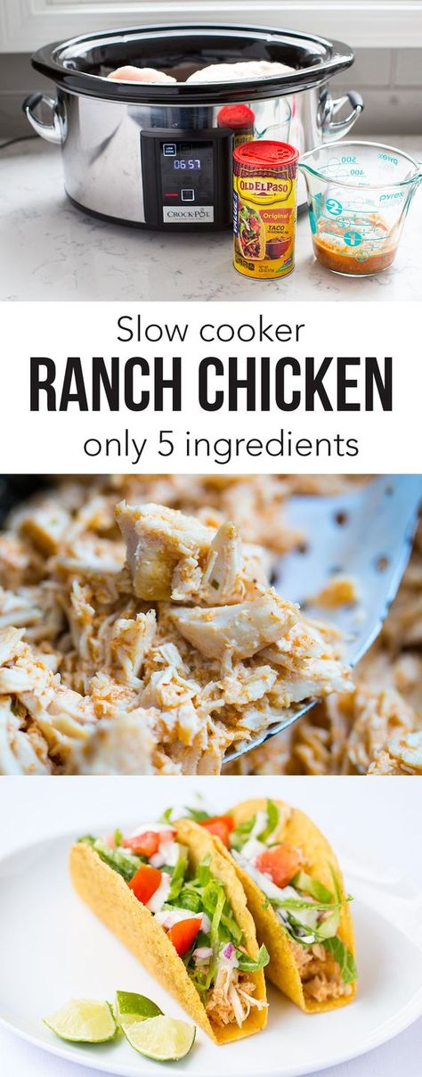 SLOW COOKER RANCH CHICKEN ...this is my go to recipe for tacos! Only takes 4…